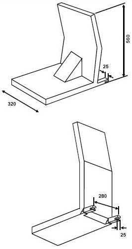 Diagram showing Three-dimensional Schematic Views of Child Restraint Fixture with Side and Top Portions Removed with measurements and description