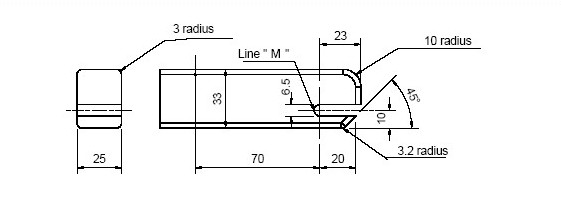 Diagram showing Rear and Side View of Checking Device for Lower Universal Anchorage System — Envelope Dimensions with measurements and description