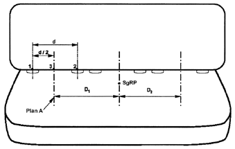 Diagram showing Measurement of Distance Between Adjacent Designated Seating Positions for Use in Simultaneous Testing with measurements and descriptions.