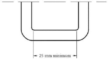 Diagram showing Width of Lower Universal Anchorage Bar, Top View with measurement