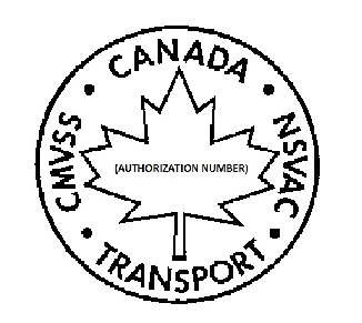 "Symbol with the outline of a circle with a maple leaf in the centre as well as the expression ""AUTHORIZATION NUMBER"" in parentheses inside the maple leaf. The word ""CANADA"", the abbreviation ""NSVAC"", the word ""TRANSPORT"" and the abbreviation ""CMVSS"" appear on the inside curvature of the circle."