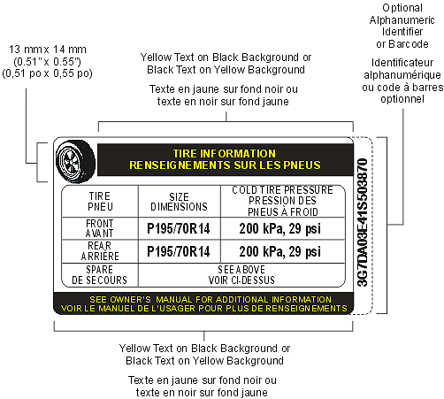 Symbol showing Tire Inflation Pressure Label, Bilingual Example with descriptions and measurements as per MVSR S110(2)(b).