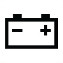 Symbol showing, in contour, a car battery with a positive terminal on the right and a negative terminal on the left.