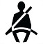 Symbol showing, in silhouette, the front view of a person who is sitting and wearing a seatbelt.