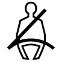 Symbol showing, in contour, the front view of a person who is sitting and wearing a seatbelt.
