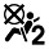 Symbol showing, in silhouette, the left side view of a person who is wearing a seat belt and sitting facing a circle with an X on it; behind the person is the numeral 2.