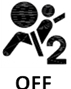 Symbol showing, above the word OFF and in silhouette, the left side view of a person who is wearing a seat belt and sitting facing a circle; behind the person is the numeral 2 .
