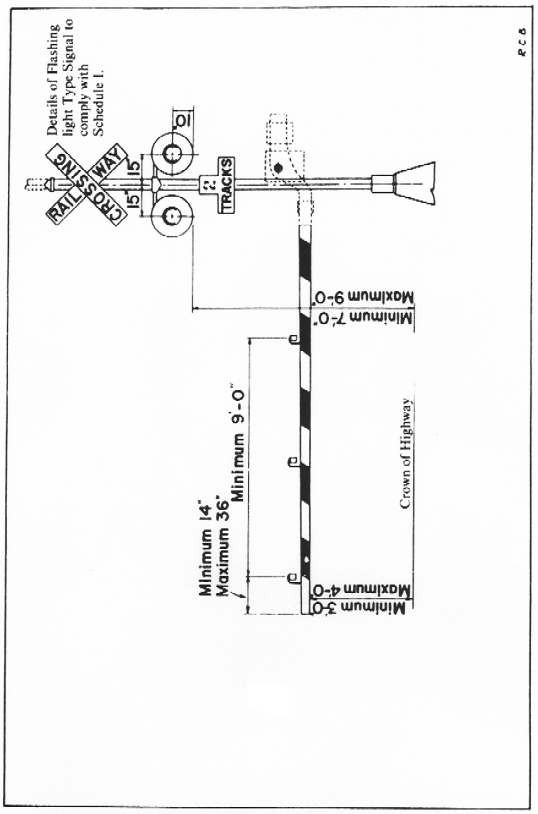 Illustration, measurements and specifications for gates at highway crossings