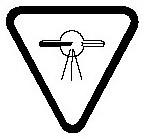 Warning symbol consisting of an inverted triangle that contains a tube with a circle in the middle of it from which three dashed lines emerge.