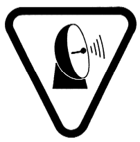 "A Warning sign, bearing the words ""Caution - Microwaves"", and ""Attention - Micro-ondes"", described by an inverted triangle containing a satellite dish emitting a series of lines"