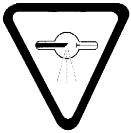 "Warning sign, bearing the words ""CAUTION: X-RAYS — ATTENTION : RAYONS"", described by an inverted triangle containing a tube with a circle in the middle emitting dashed lines"