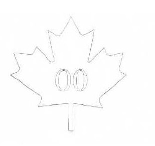 Outline of a maple leaf with the figures 00 inside.
