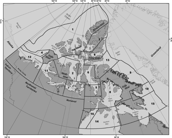 Map of Canada's Arctic showing the sixteen Shipping Safety Control Zones