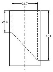 Illustration depicting measurements for a small parts cylinder. The small parts cylinder is a hollow cylinder with an inner diameter of 31.7 mm. A plate (or similar device) is placed inside the cylinder at a 45 degree angle such that the minimum depth of the cylinder is 25.4 mm and the maximum depth of the cylinder is 57.1 mm. No specifications are provided for the wall or floor thickness of the cylinder.