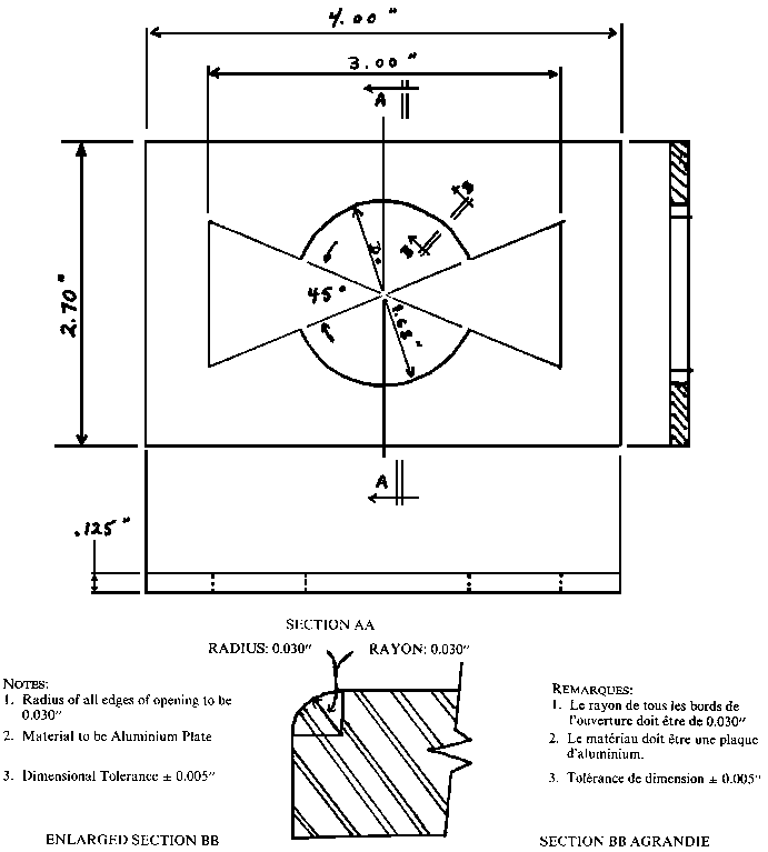 Illustration depicting specifications and measurements for a guard template for testing pacifiers. The guard template is a rectangular aluminum plate, 4 inches long, 2.70 inches wide, and 0.125 inches thick. There is an opening in the middle formed by a circle, with two triangles opposed at their summits, in the shape of a bowtie. The length of the opening, from one triangle base to the other, is 3 inches.