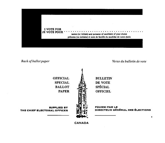 Front and back views of form of special ballot paper