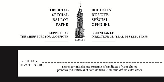 Form of special ballot paper