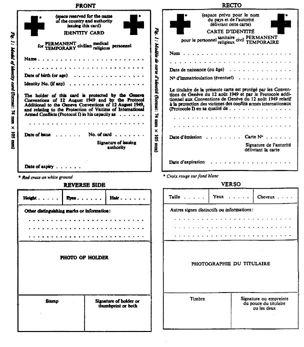 Model of an International Committee of the Red Cross (ICRC) identity card (format: 74 mm x 105 mm), front and reverse side views.