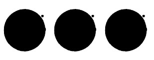 Group of three solid circles of equal size aligned horizontally. Each circle has a small asterisk near the top right side to signify the label of the note bright orange circle on white ground.