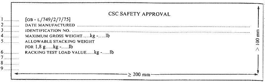 Safety Approval Plate