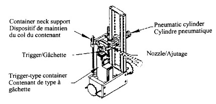 Illustration depicting specifications for holding apparatus for a trigger-type container. Isometric view. The relative positions of the container neck support, trigger, trigger-type container and nozzle are shown. A pneumatic cylinder is mounted on a sliding rail and exerts a force on the 'trigger' of a pump-spray container. The rest of the container is held in place by a rear-mounted container neck support and base support.