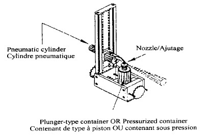 Illustration depicting specifications for holding apparatus for a plunger type of pressurized container. Isometric view. The relative positions of the pneumatic cylinder, nozzle and plunger-type container OR pressurized container are shown. A pneumatic cyliner is mounted on a sliding rail and exerts a force on the actuator of a pressurized container. The base of the container is held in place by supports.