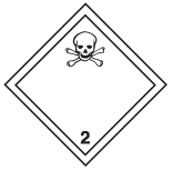 "White square on point, with in black: a line inside the edge, skull and crossbones symbol in the top corner and number ""2"" in the bottom corner."