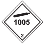 "White square on point, with in black: a line inside the edge, gas cylinder symbol in the top corner, number ""1005"" centered vertically and number ""2"" in the bottom corner."
