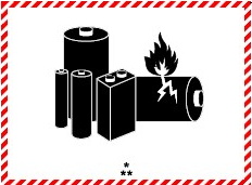 White rectangle with red border hatching, and in black: a group of batteries, one damaged and emitting flame. Below the batteries there is one asterisk centered above two asterisks.