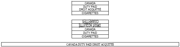Series of nine rectangular outlines with the following text inside Canada, Duty Paid Droit Acquitté, Cigarettes, Cigarettes (inverted), Droit Acquitté (inverted), Canada, Duty Paid, Cigarettes, Canada Duty Paid Droit Acquitté