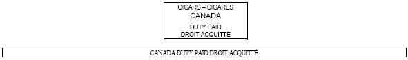 Outline of a rectangle with the following text inside Cigars - Cigares Canada Duty Paid Droit Acquitté above another outline of a rectange with following text inside Canada Duty Paid Droit Acquitté