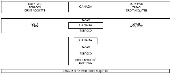 Series of four rectangular outlines with the following text inside Duty Paid Tobacco Droit Acquitté Canada (outlined) Duty Paid Tabac Droit Acquitté, Duty Paid Tabac Canada (outlined) Tobacco Droit Acquitté, Canada (outlined) Tabac Tobacco Droit Acquitté Duty Paid, Canada Duty Paid Droit Acquitté