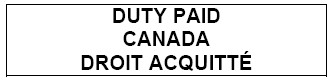 Outline of a rectangle with the following text inside Duty Paid Canada Droit Acquitté
