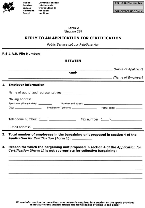 Form 2 (Section 26) Reply to an Application for Certification