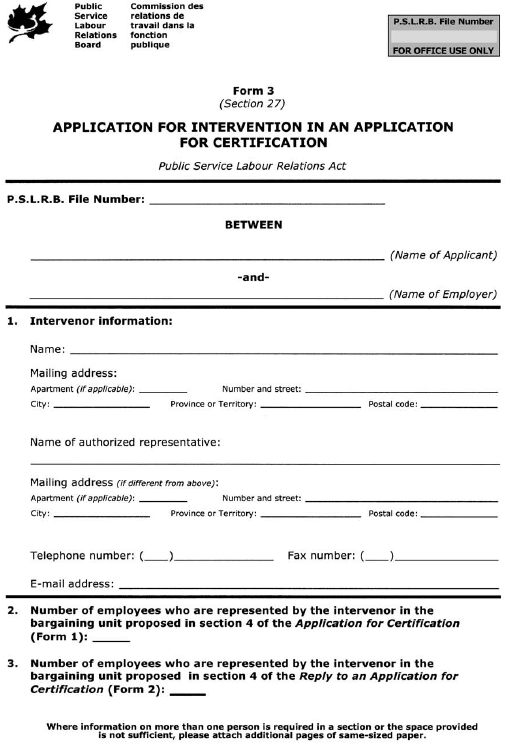 Form 3 (Section 27) Application for Intervention in an Application for Certification