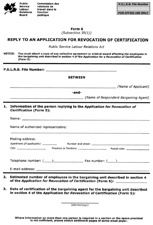 Form 6 (Subsection 39(1)) Reply to an Application for Revocation of Certification