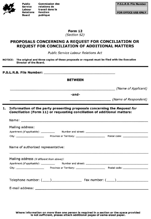 Form 12 (Section 52) Proposals Concerning a Request for Conciliation or Request for Conciliation of Additional Matters
