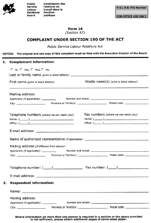 Form 16 (Section 57) Complaint under Section 190 of the Act