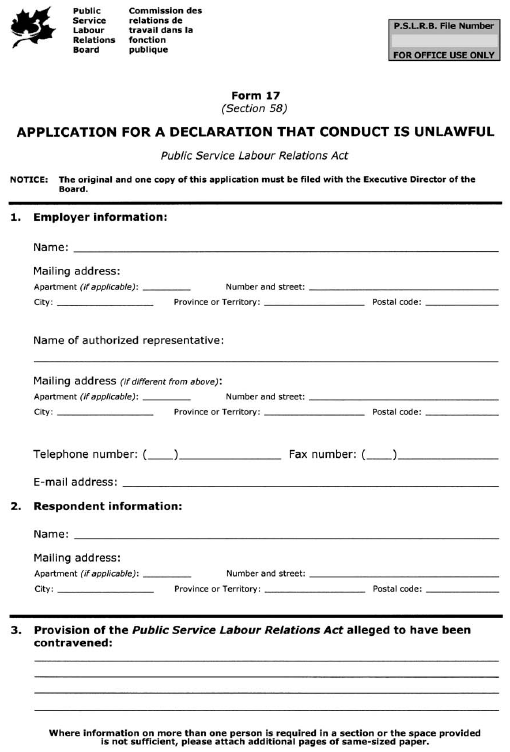 Form 17 (Section 58) Application for a Declaration that Conduct is Unlawful