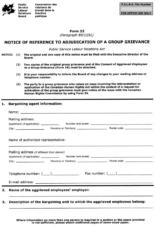 Form 22 (Paragraph 89(1)(b)) Notice of Reference to Adjudication of a Group Grievance