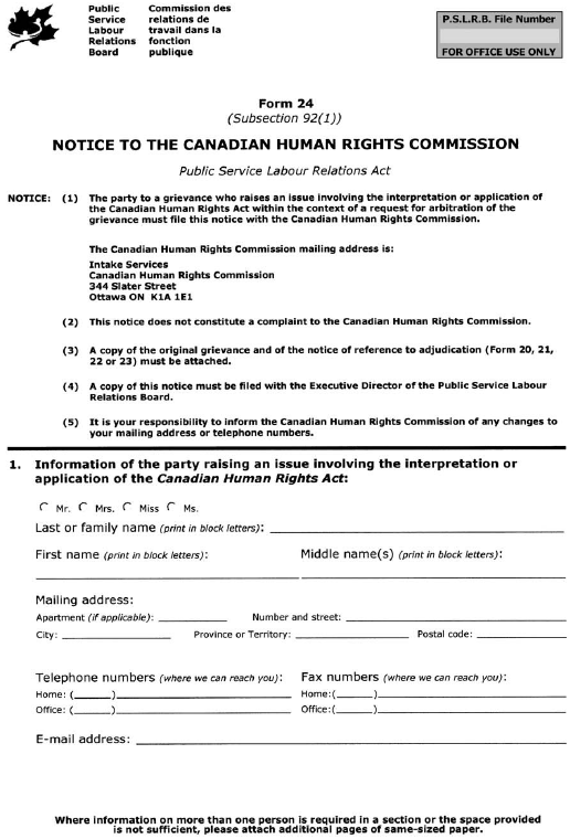 Form 24 (Subsection 92(1)) Notice to the Canadian Human Rights Commission