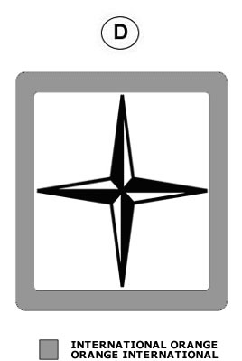D contains a black and white compass rose within an outline of a square. There is also a grey shade box signifying International Orange.