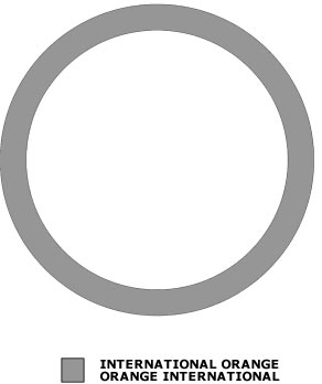 Grey outline of a circle. There is also a grey shade box signifying International Orange.