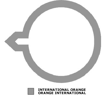 Grey outline of a circle with an arrow pointing to the left. There is also a grey shade box signifying International Orange.