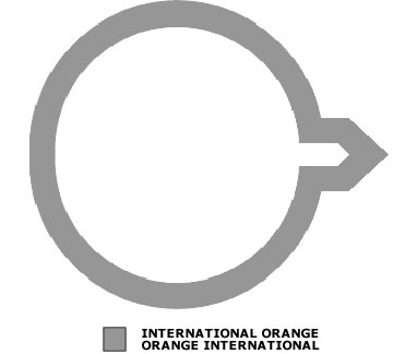 Grey outline of a circle with an arrow pointing to the right. There is also a grey shade box signifying International Orange.