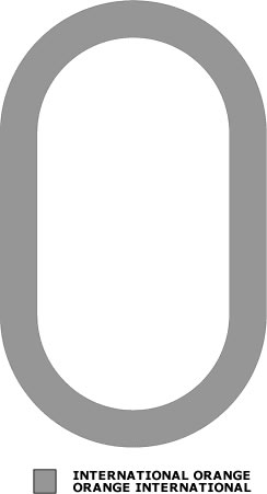 Grey outline of an elongated circle. There is also a grey shade box signifying International Orange.