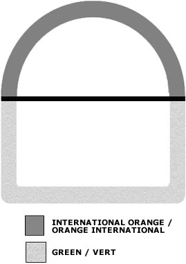 Grey outline of a half-circle above a black line surmounting an outline of a half-rectangle in a lighter shade of grey. There is also a grey shade box signifying International Orange and a lighter grey shade box signifying Green.