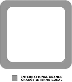 Grey outline of a square. There is also a grey shade box signifying International Orange.