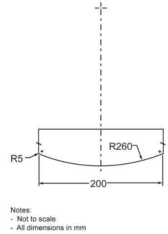 Illustration depicting specifications and measurements of test load for the test for structural integrity for cribs. The test load is cylindrical, with a 200 mm diameter. Its bottom surface is convex, with a radius of curvature of 260 mm, and with cambered edges of 5 mm radius.