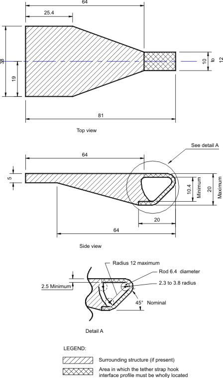 Diagram of Interface Profile of Tether Strap Hook with measurements and specifications.